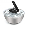 CHEFLY Large Stainless Steel Non-Skid Salad Spinner Quick Collapsible Lettuce Washer Dryer Mixer